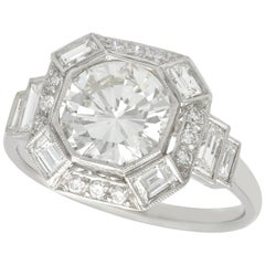 Art Deco Style 2.58 Carat Diamond and Platinum Engagement Ring