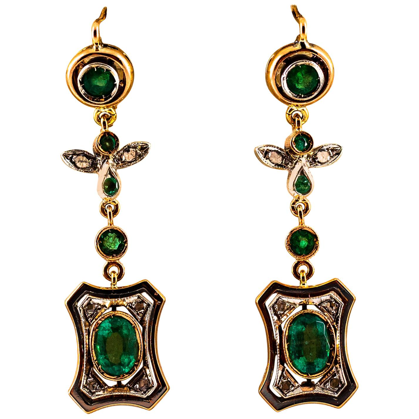 Art Deco Style 2.60 Carat White Rose Cut Diamond Emerald Yellow Gold Earrings