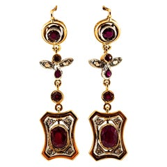Art Deco Style 2.60 Carat White Rose Cut Diamond Ruby Yellow Gold Drop Earrings