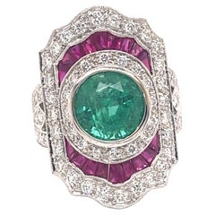 Art Deco Style 2.66 Carat Emerald with Rubies & Diamonds Ring 18k White Gold