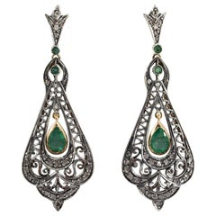 Art Deco Style 2.70 Carat White Diamond Emerald Yellow Gold Lever-Back Earrings