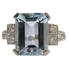 Art Deco Style 2.80 Carat Emerald Cut Aquamarine Ring with Diamond Shoulders