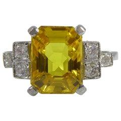Art Deco Style 2.87 Carat Yellow Sapphire and Diamond Ring, Contemporary Design