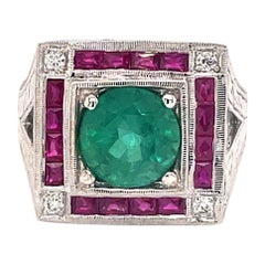Art Deco Style 2.88 Carat Emerald with Rubies & Diamonds Ring 18k White Gold