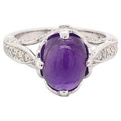 Art Deco Style 3 Carat Amethyst and Diamond Ring 18 Karat White Gold