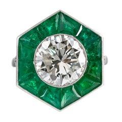Art Deco Style 3.24 Carat Diamond Ring with Emerald Trim