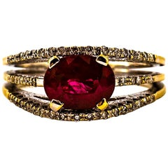Art Deco Style 3.35 Carat Oval Cut Ruby White Diamond Yellow Gold Cocktail Ring