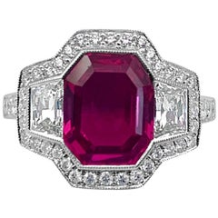Art Deco Style 3.43 Carat AGL Certified Pink Sapphire Ring