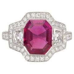 Art Deco Style 3.43 Carat Ruby and Diamond 3 Stone Ring