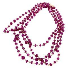 Art Deco Style 34.5 Karat Red Ruby 18 Karat Yellow Gold Links Beaded Necklace