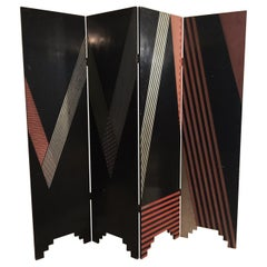 Art Deco Style 4-Panel Screen, Divider after Jean Dunand