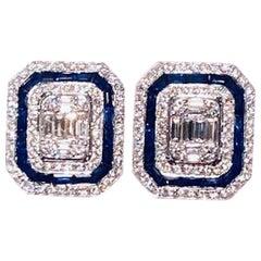 Art Deco Style 4.00 Carat Diamond and Sapphire Earrings in 14 Karat White Gold