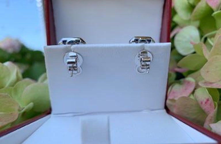 Art Deco Style 4.00 Carat Diamond and Sapphire Earrings in 18 Karat White Gold In Excellent Condition For Sale In Tustin, CA