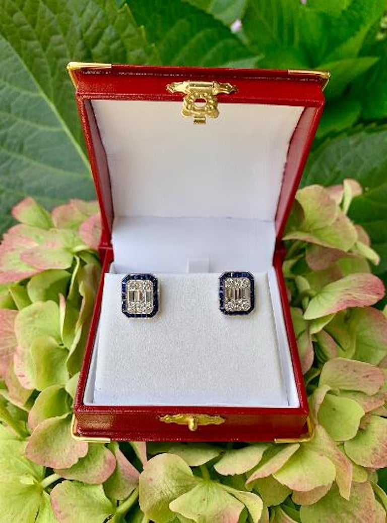 Art Deco Style 4.00 Carat Diamond and Sapphire Earrings in 18 Karat White Gold For Sale 1