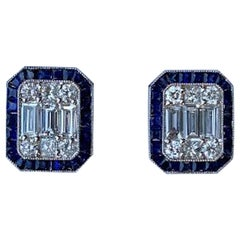 Art Deco Style 4.00 Carat Diamond and Sapphire Earrings in 18 Karat White Gold