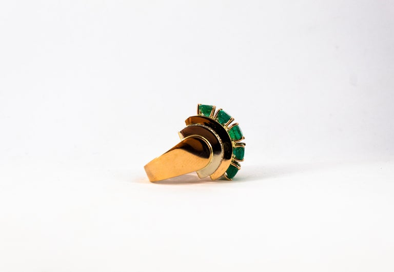 Art Deco Style 4.30 Carat White Diamond Emerald Yellow Gold Cocktail Ring For Sale 8