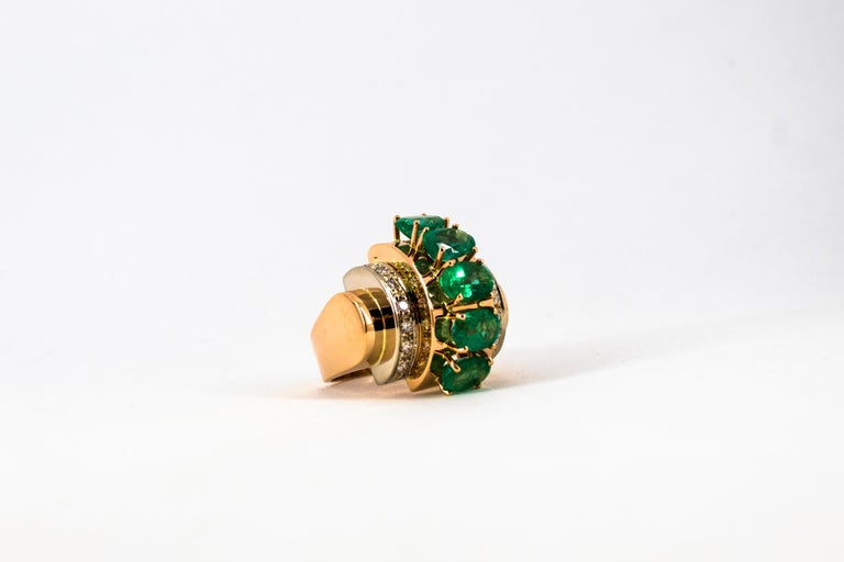 Art Deco Style 4.30 Carat White Diamond Emerald Yellow Gold Cocktail Ring For Sale 9