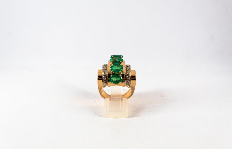 Brilliant Cut Art Deco Style 4.30 Carat White Diamond Emerald Yellow Gold Cocktail Ring For Sale