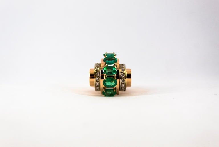 Art Deco Style 4.30 Carat White Diamond Emerald Yellow Gold Cocktail Ring For Sale 4