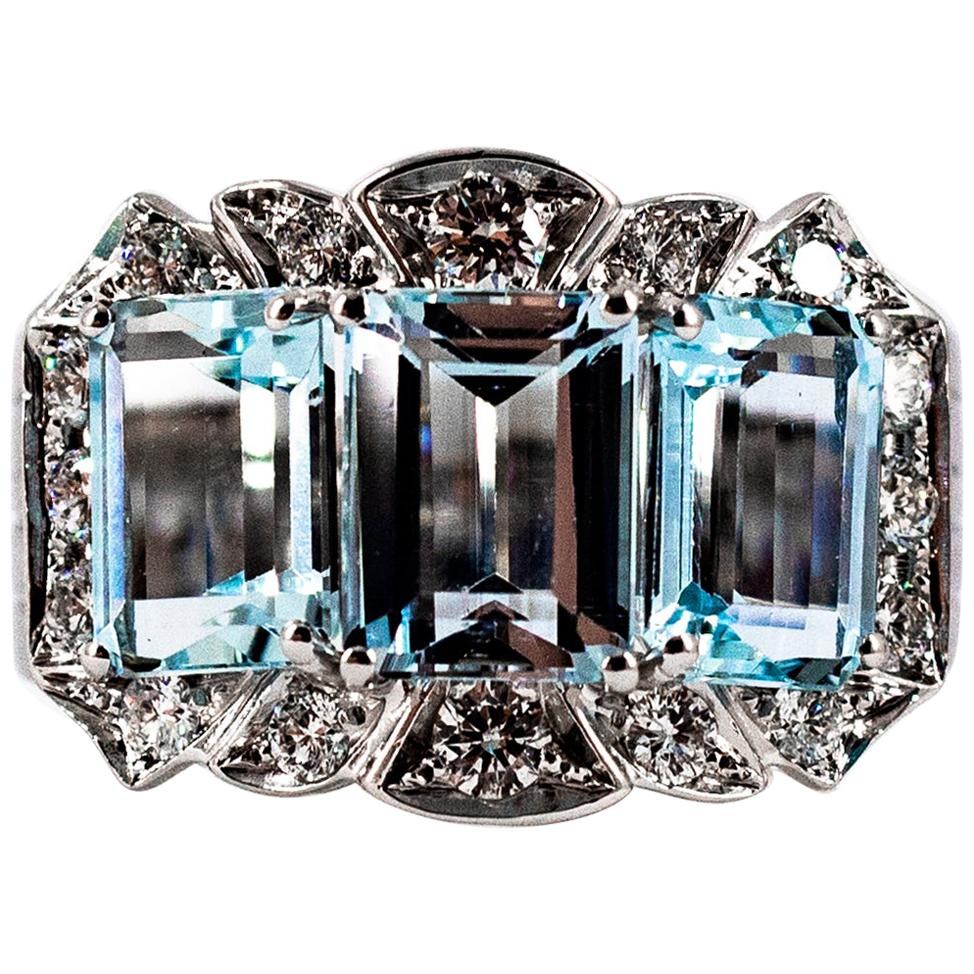 Art Deco Style 4.45 Carat White Diamond Aquamarine White Gold Cocktail Ring