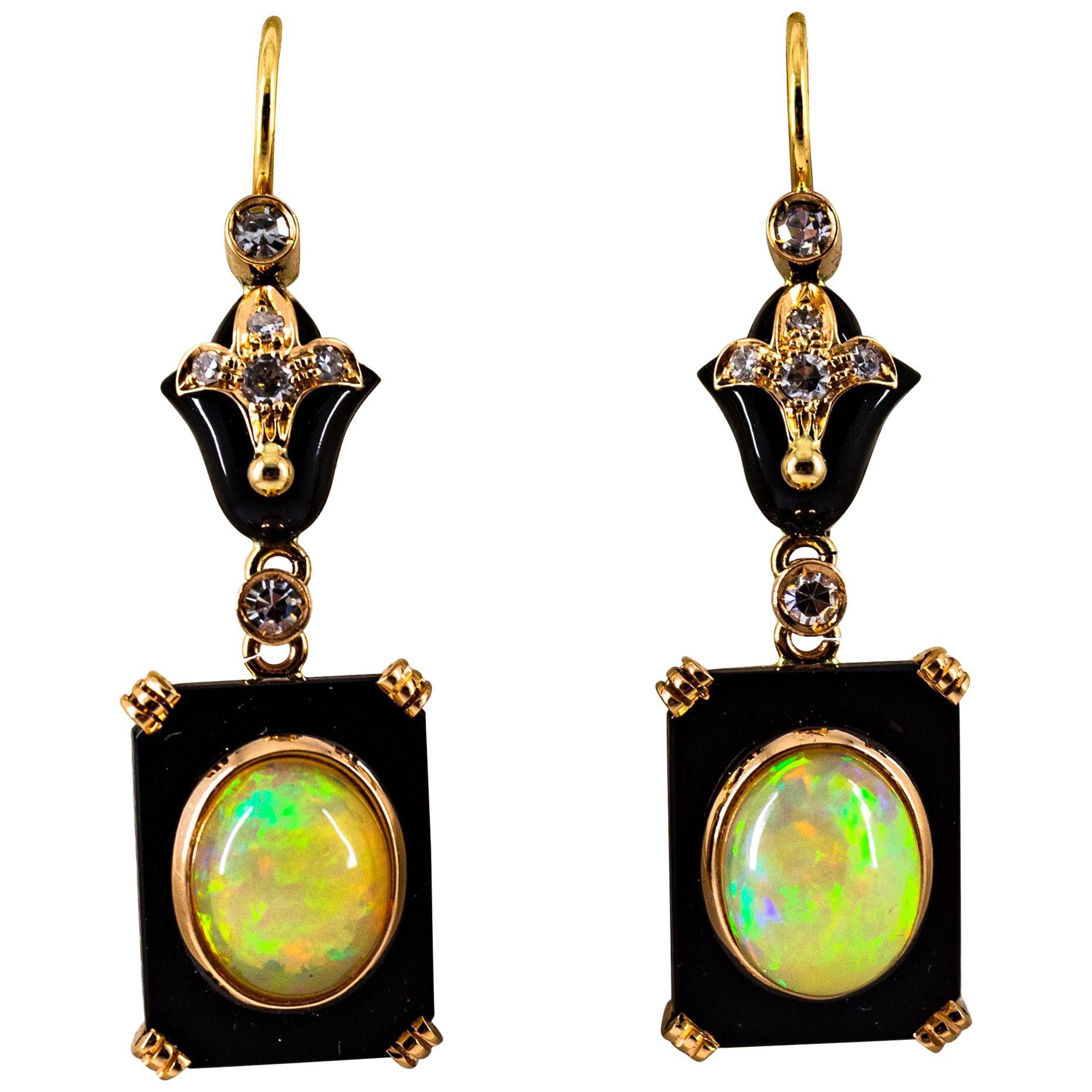 Art Deco Style 4.46 Carat White Diamond Opal Onyx Yellow Gold Drop Earrings