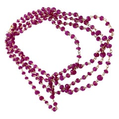 Art Deco Style 45.5 Karat Red Ruby 18 Karat Yellow Gold Links Beaded Necklace