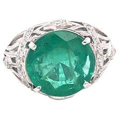 Art Deco Style 5.47 Carat Emerald with Diamond Ring Platinum