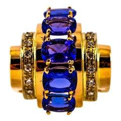 Art Deco Style 5.60 Carat White Diamond Tanzanite Yellow Gold Cocktail Ring