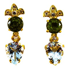 Art Deco Style 5.65 Carat White Diamond Peridot Aquamarine Yellow Gold Earrings