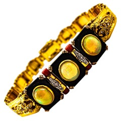 Art Deco Style 6.90 Carat White Diamond Opal Red Coral Onyx Yellow Gold Bracelet