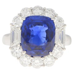 Art Deco Style 7.62 Carat Blue Sapphire and Diamond Cluster Ring Set in Platinum
