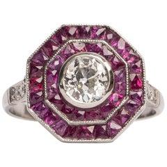 Art Deco Style .80 Carat Old European Cut Diamond Platinum Ruby Double Halo Ring