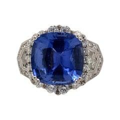 Art Deco Style 8.13 Carat Sapphire with Diamond Ring 18 Karat White Gold