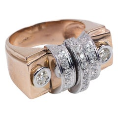 Art Deco Style 9 Karat Gold and Diamond Ring