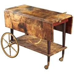Art Deco Style Aldo Tura Drop Leaf Goat Skin Parchment Rolling Bar Cart