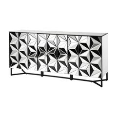 Art Deco Style All in Bevelled Glass Mirror Sideboard