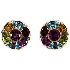 Art Deco Style Amethyst Blue Topaz Peridot Garnet Citrine Yellow Gold Earrings