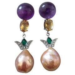 Art Deco Style Amethyst Citrine Gold Diamond Enamel Baroque Pearls Earrings