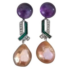 Art Deco Style Amethyst Gold Diamond Green Enamel Golden Baroque Pearls Earrings