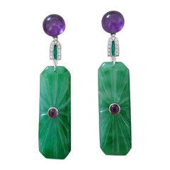 Art Deco Style Amethyst Gold Diamonds Green Enamel Engraved Jade Dangle Earrings