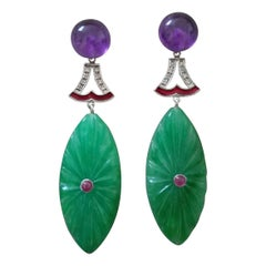 Art Deco Style Amethyst Gold Diamonds Ruby Enamel Engraved Jade Dangle Earrings