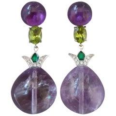 Art Deco Style Amethyst Peridot Gold Diamond Green Enamel Drop Earrings