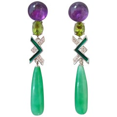 Art Deco Style Amethyst Peridot Jade Gold Diamonds Green Enamel Drop Earrings