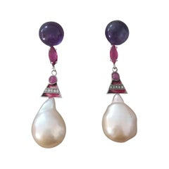 Art Deco Style Amethyst Ruby Gold Enamels Diamonds Cream Baroque Pearls Earrings