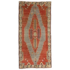 Art Deco Style Antique Caucasian Tribal Rug, Gallery Rug, Wide Hallway Runner