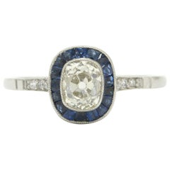 Art Deco Style Antique Cushion Diamond Engagement Ring 3/4 Carat Sapphire Halo