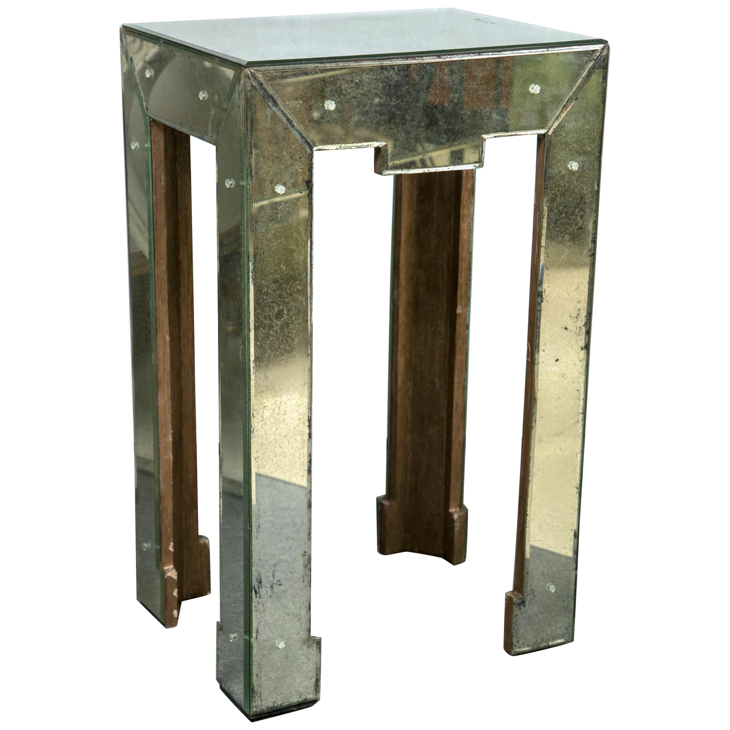 Art Deco Style Antiqued Mirrored Side or End Table Greek Key Shaped Apron
