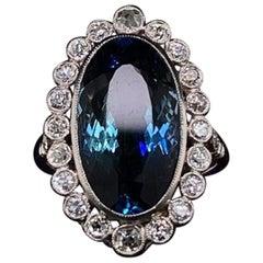 Art Deco Style Aquamarine and Diamond Oval Platinum Cluster Engagement Ring
