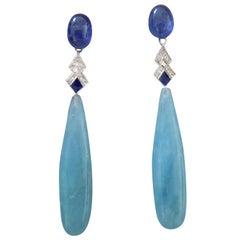 Art Deco Style Aquamarine Gold Diamonds Blue Sapphire Blue Enamel Drops Earrings