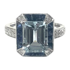 Art Deco Style Aquamarine, Sapphire and Diamond Cluster Cocktail Ring